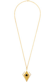 Kilian Lights & Reflections gold-plated, Swarovski crystal and onyx necklace