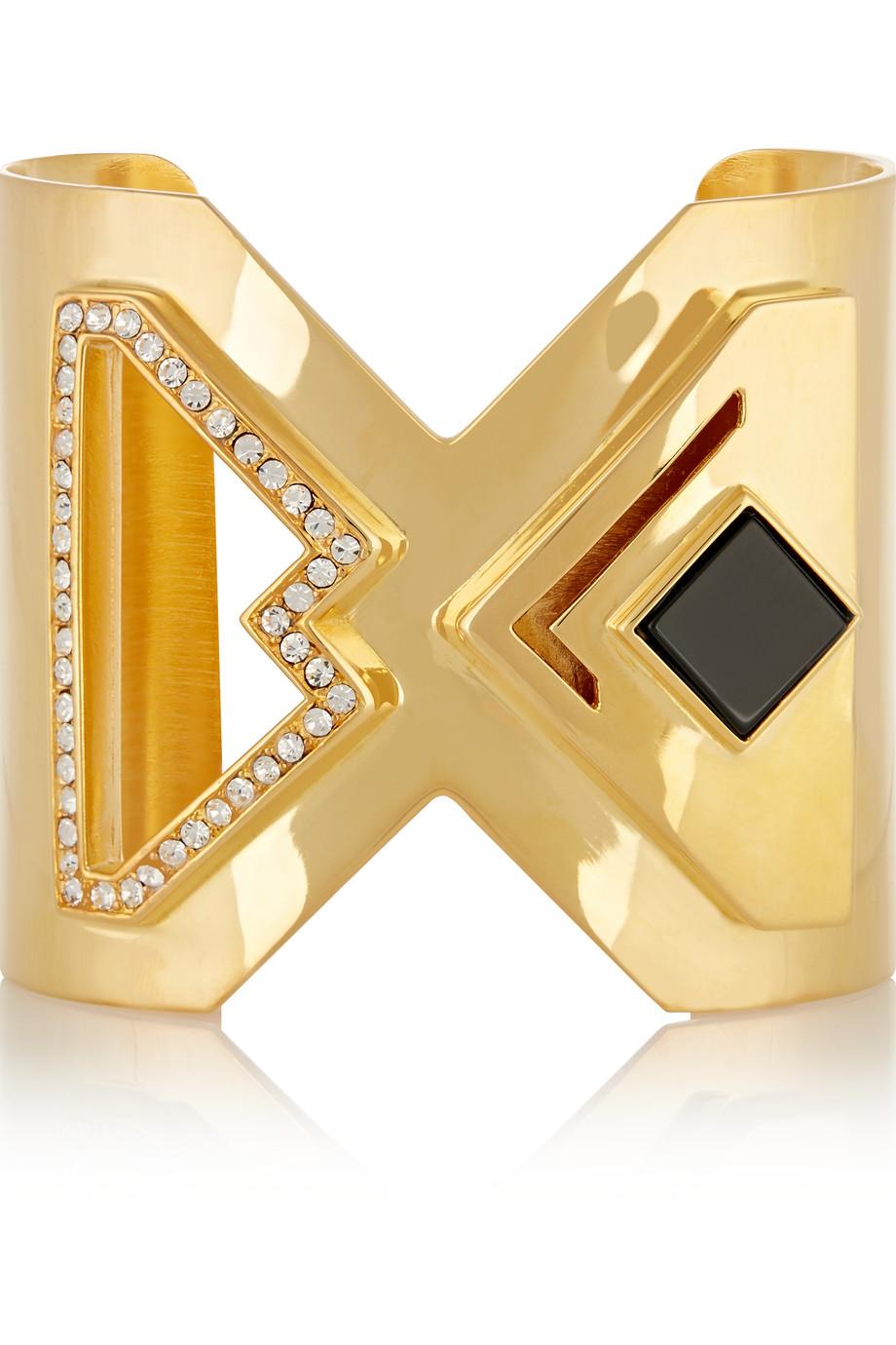 Kilian Lights & Reflections Gold-Plated, Swarovski Crystal and Onyx Cuff, Women's