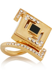 Lights & Reflections gold-plated, Swarovski crystal and onyx ring