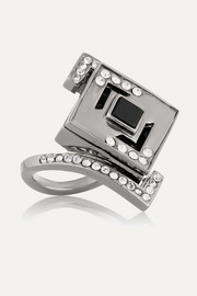Lights & Reflections rhodium-plated, Swarovski crystal and onyx ring