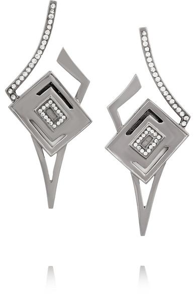 Kilian - Lights & Reflections Rhodium-plated Swarovski Crystal Earrings - Silver