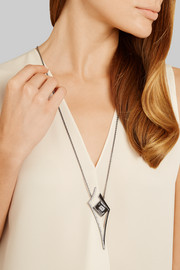 Lights & Reflections rhodium-plated, Swarovski crystal and onyx necklace