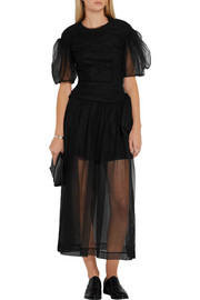 Simone Rocha Bow-embellished ruched tulle skirt