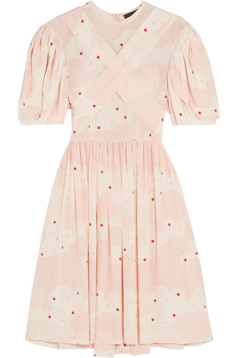 Simone Rocha Printed Silk Mini Dress, Blush, Women's - Printed, Size: 6