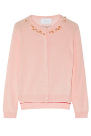 Embellished merino wool, silk and cashmere-blend cardigan
