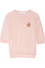 Simone Rocha Floral-appliquéd merino wool, silk and cashmere-blend sweater