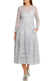 Simone Rocha Metallic embroidered tulle midi dress