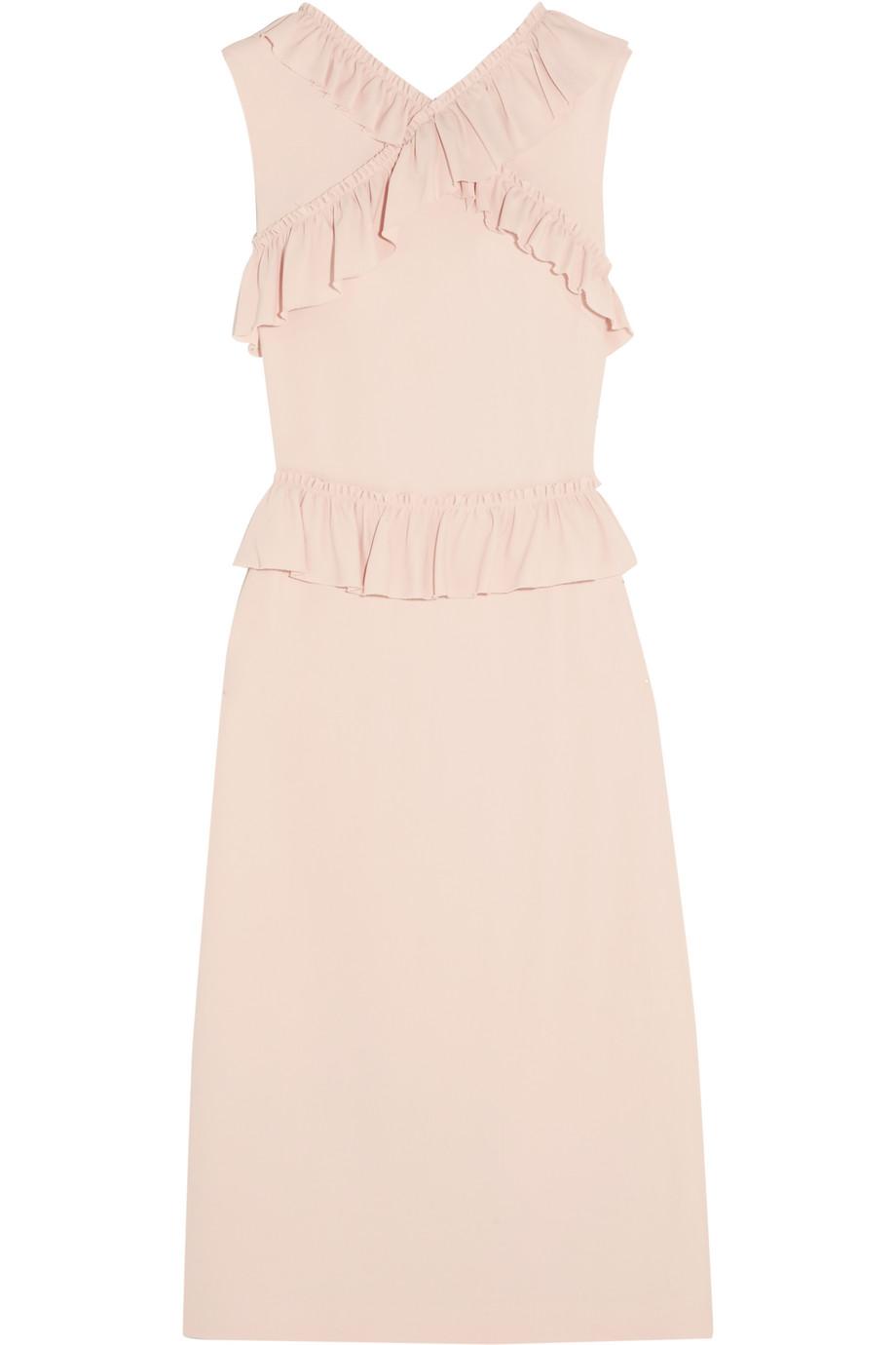 Simone Rocha Ruffle-Trimmed Stretch-Crepe Dress, Blush, Women's, Size: 6
