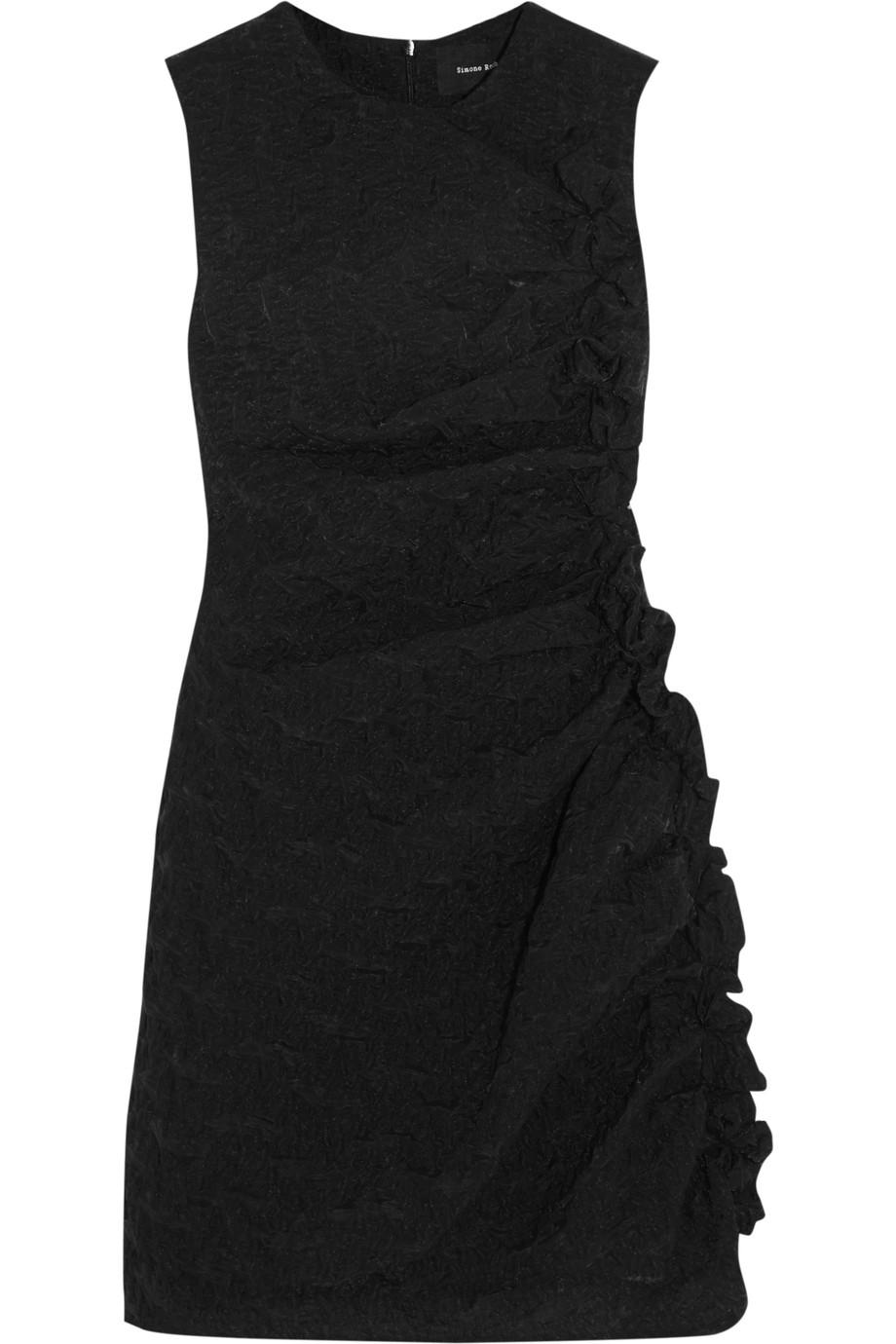 Simone Rocha Ruffled Cloqué Mini Dress, Black, Women's, Size: 6