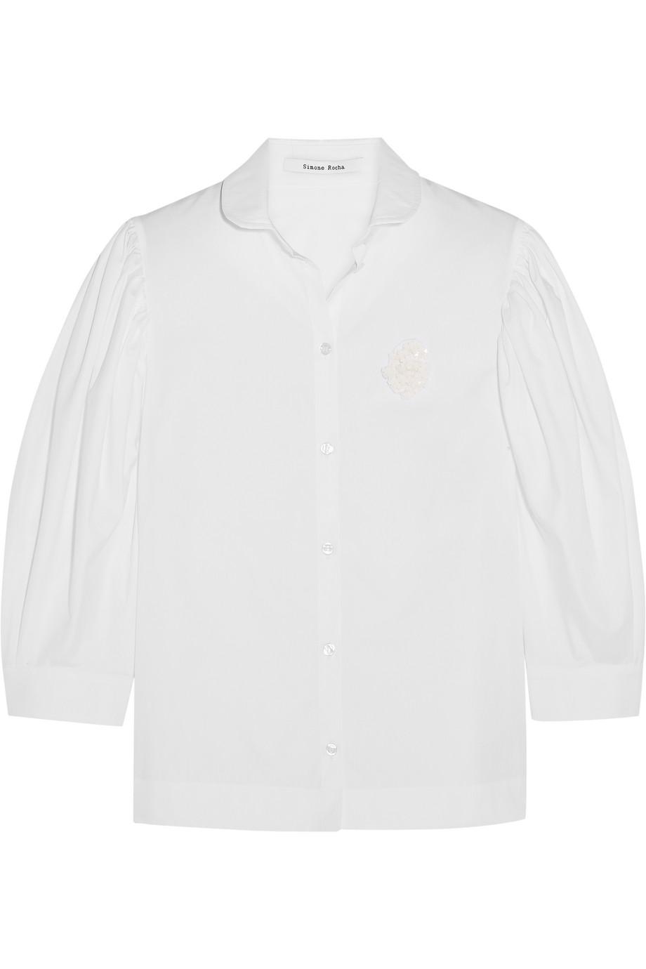 Simone Rocha Floral-Appliquéd Cotton-Poplin Shirt, White, Women's, Size: 6