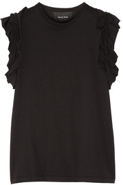 Ruffle-trimmed cotton-jersey T-shirt
