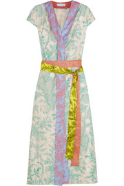 Claudia embroidered printed silk-twill wrap dress