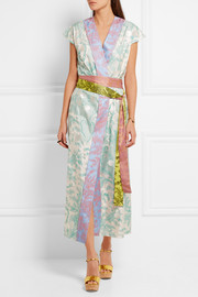 Jonathan Saunders Claudia embroidered printed silk-twill wrap dress
