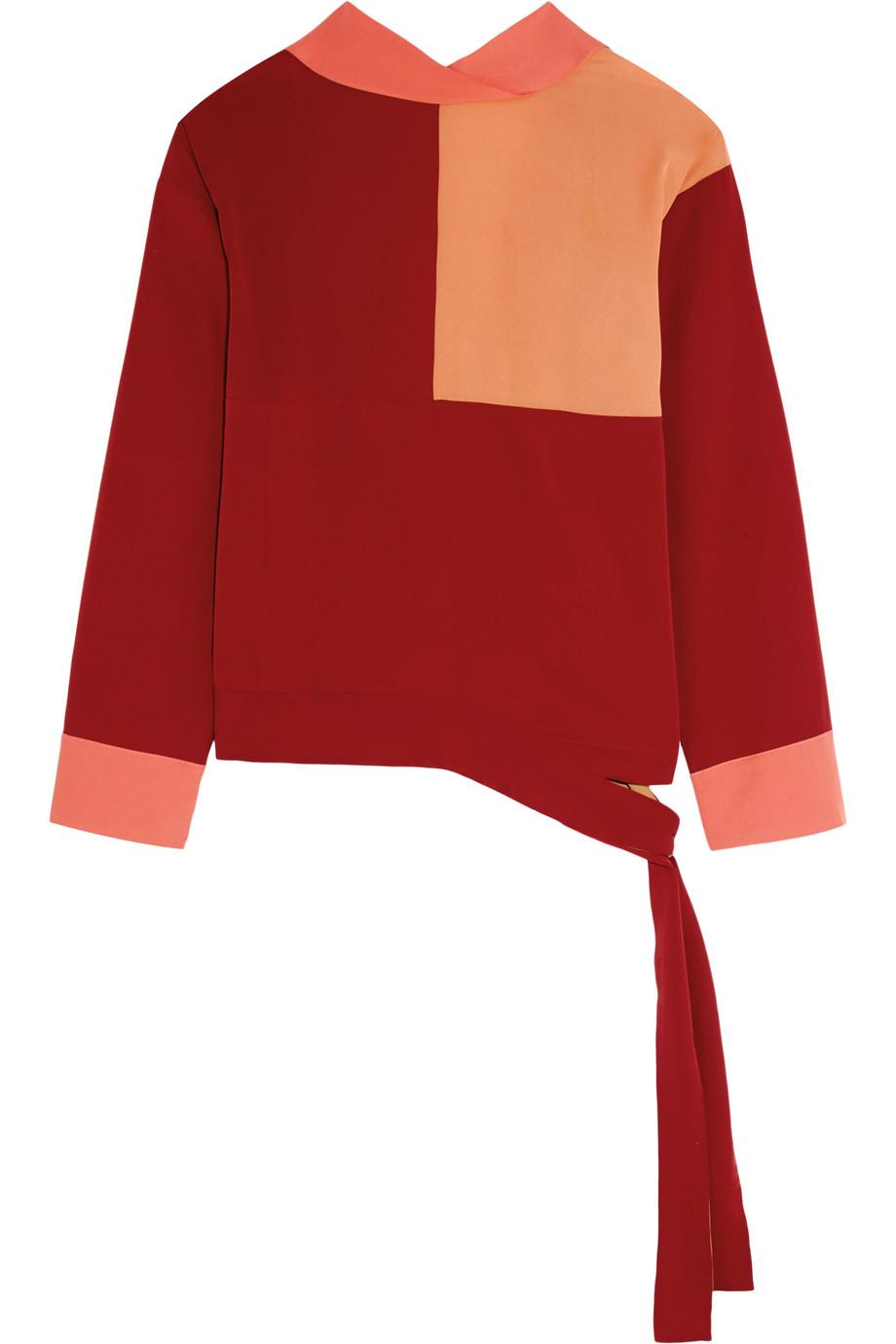 Faustine Color-Block Crepe De Chine Wrap Top, Jonathan Saunders, Claret/Coral, Women's, Size: 36