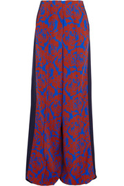 Jonathan Saunders Cici printed crepe and satin wide-leg pants
