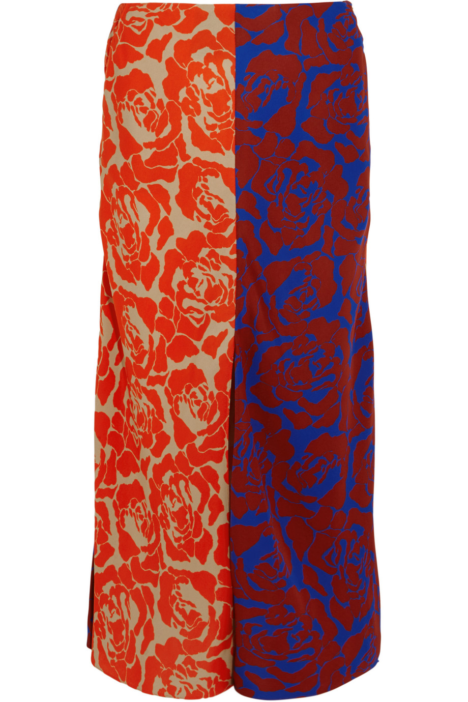 Carine Paneled Printed Crepe Skirt, Jonathan Saunders, Brick/Blue, Women's, Size: 40