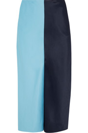Jonathan Saunders Carine two-tone brushed-satin midi skirt