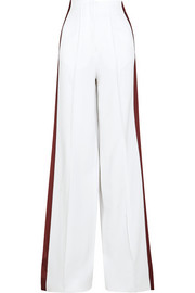 Cici satin-paneled crepe wide-leg pants