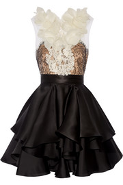 Floral-appliquéd lace and silk-organza mini dress