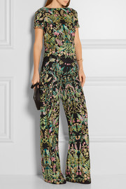 Marchesa Embroidered tulle wide-leg pants
