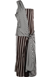 Mishar one-shoulder striped satin dress