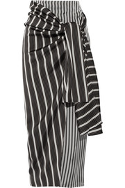 Fran striped satin wrap skirt