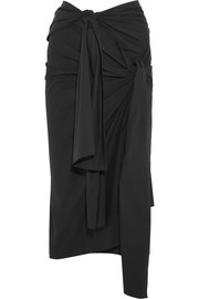 Alva knotted stretch-cotton poplin midi skirt