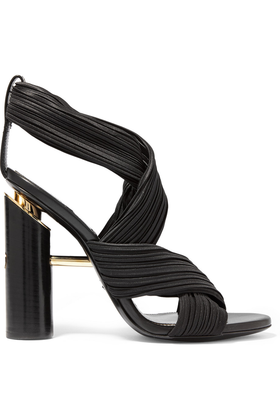 Plissé-Satin Sandals, Black, Women's US Size: 4.5, Size: 35