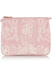 Rose Batik large printed cotton-canvas cosmetics case