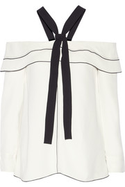 Proenza Schouler Off-the-shoulder pussy-bow crepe blouse