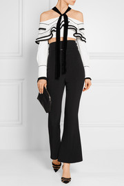 Proenza Schouler Cropped velvet-trimmed crepe and basketweave top