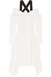 Off-the-shoulder broderie anglaise cotton dress