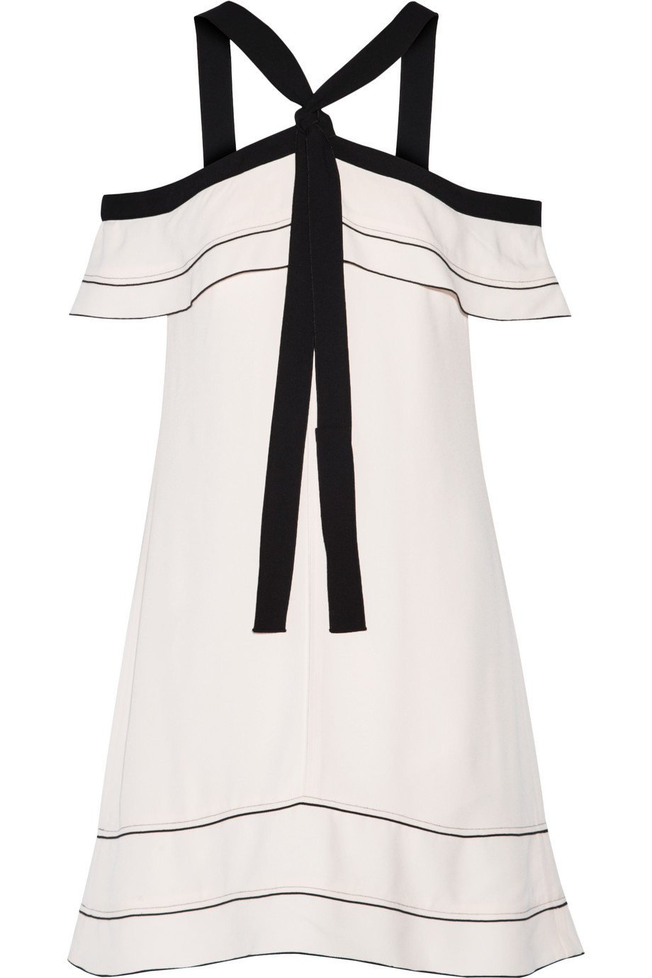 Proenza Schouler Off-the-Shoulder Pussy-Bow Crepe Mini Dress, Cream, Women's, Size: 0