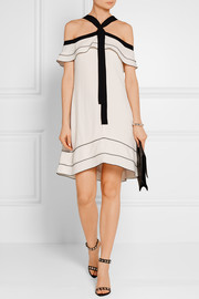 Proenza Schouler Off-the-shoulder pussy-bow crepe mini dress