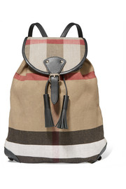 London leather-trimmed checked jute and cotton-blend canvas backpack