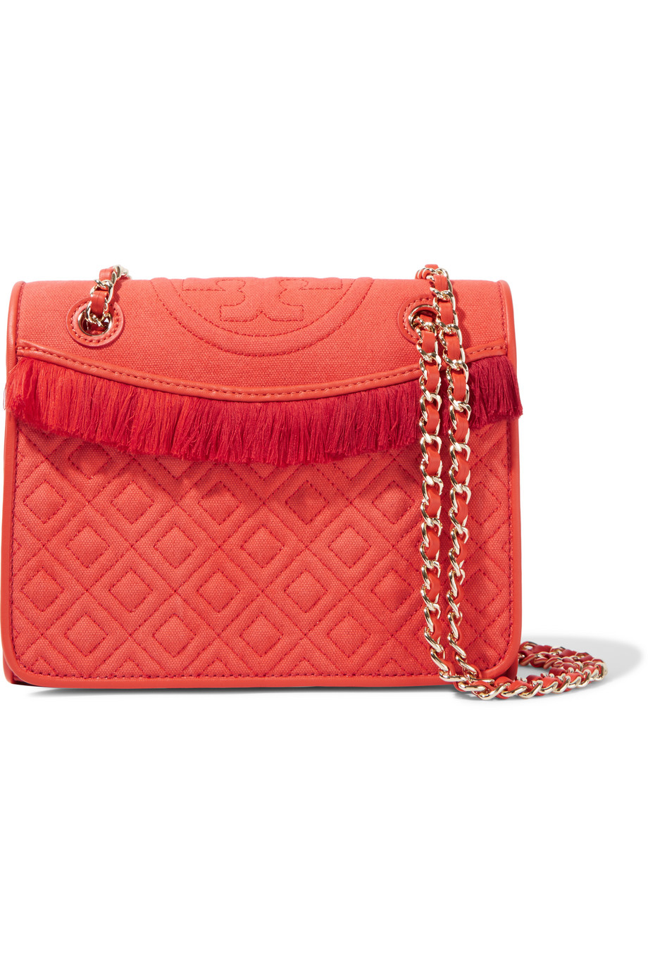 Tory Burch Fleming Fringed Quilted Canvas Shoulder Bag, Tomato Red, Women's