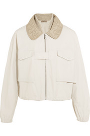 Bottega Veneta Silk organza-trimmed cotton-canvas bomber jacket