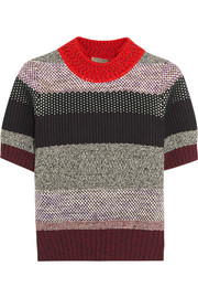 Bottega Veneta Cropped striped cotton-blend sweater