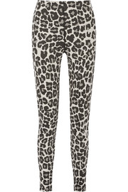Leopard-print stretch cotton-blend jersey tapered pants