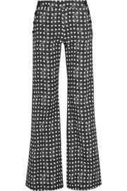 Printed stretch-cotton twill wide-leg pants