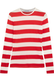 Striped stretch-jersey top