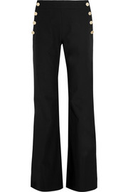 Stretch cotton and linen-blend wide-leg pants