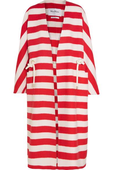 Max Mara - Striped Wool And Angora-blend Coat - Red