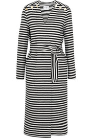 Striped wool and angora-blend coat