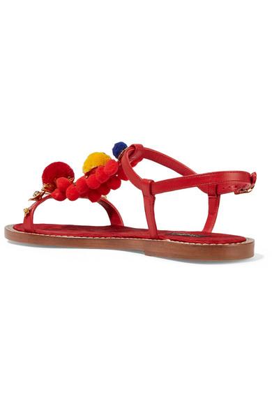 e7c8b763f Dolce & Gabbana   Pompom-embellished leather sandals   NET-A-PORTER.COM