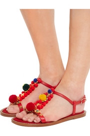 Pompom-embellished leather sandals