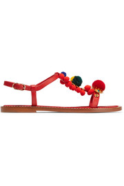 Dolce & Gabbana Pompom-embellished leather sandals
