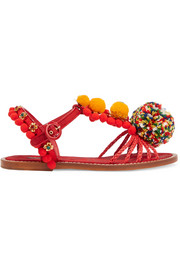 Dolce & Gabbana Embellished leather, raffia and brocade sandals