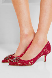 Dolce & Gabbana Swarovski crystal-embellished corded lace and mesh pumps