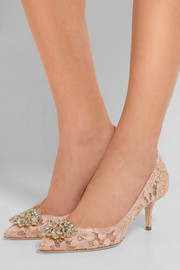 Dolce & Gabbana Crystal-embellished corded lace and mesh pumps